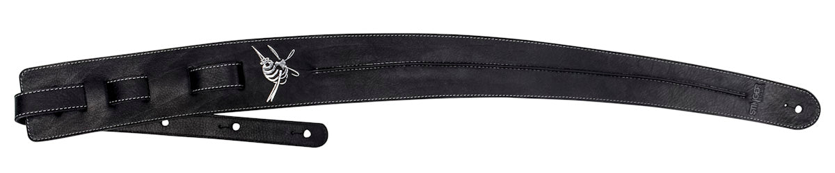 Black leather guitar strap - Black Backbone by Stinger Straps
