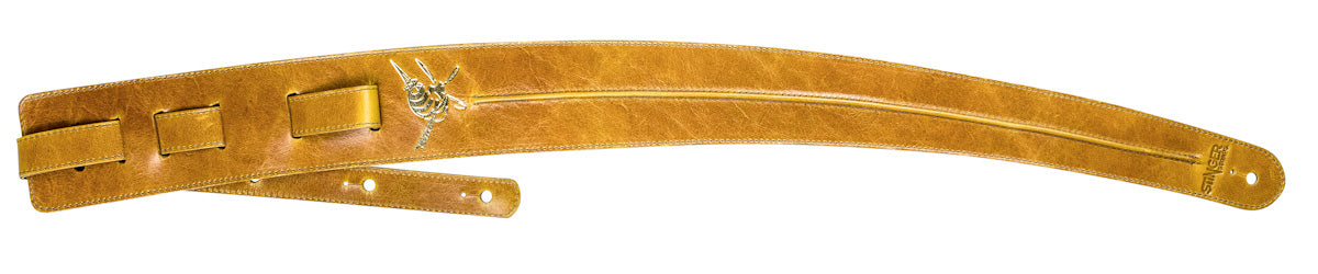 Yellow leather guitar strap - Premium straps by Stinger Straps