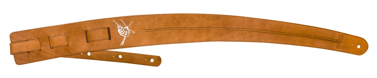 Tan brown leather guitar strap - Stinger Straps BACKBONE