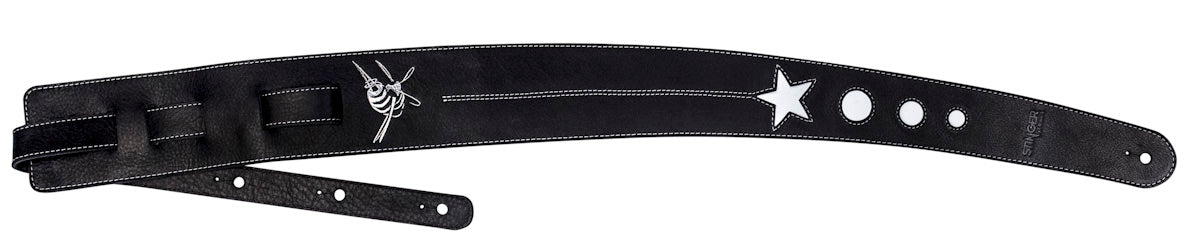 Black and white leather guitar strap - Cosmonaut