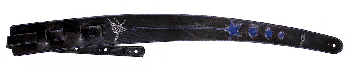 Brown leather guitar strap - Chocolate/Blue Cosmonaut