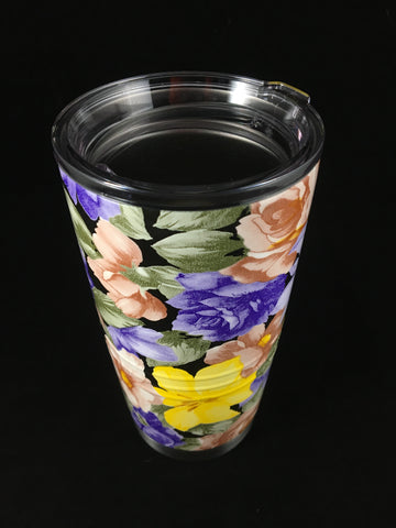 Custom Flower Hydro Dipped  20 oz Stainless Steel Vacuum Insulated Tumbler - Hollywood Creations - dipdude - hydro dip - led lights - noco