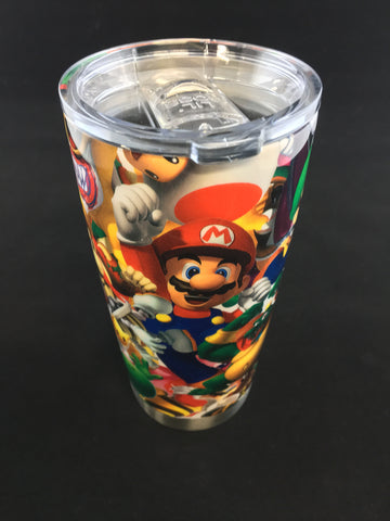Custom Mario Hydro Dipped Thermo Steel Lil Boss 20 oz Stainless Steel Vacuum Insulated Tumbler - Hollywood Creations - dipdude - hydro dip - led lights - noco