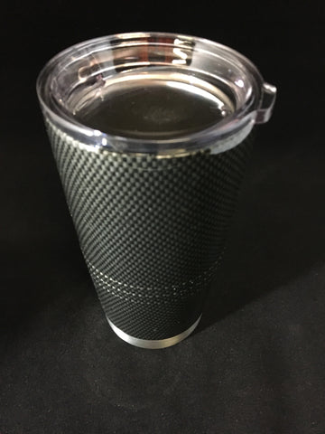 Custom Carbon Fiber Hydro Dipped  20 oz Stainless Steel Vacuum Insulated Tumbler - Hollywood Creations - dipdude - hydro dip - led lights - noco