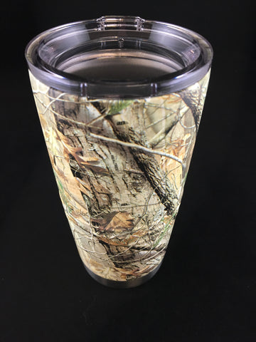 Custom Real Tree Camo Hydro Dipped  20 oz Stainless Steel Vacuum Insulated Tumbler - Hollywood Creations - dipdude - hydro dip - led lights - noco