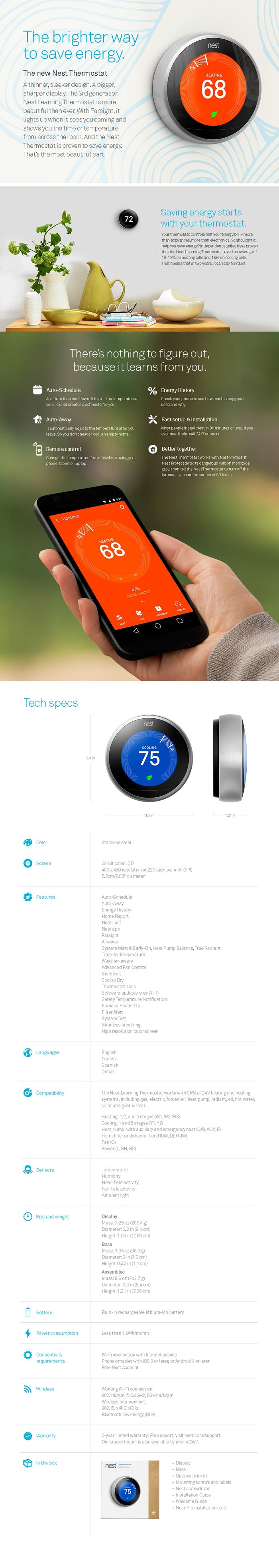 Nest Learning Thermostat 3rd Gen Refresh Smart Home Wiring Ring Third Generation Specifications Product Features