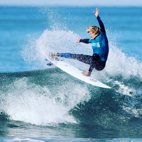 R world rider Evan Sandison busting his fins out on his Rworld Sandman model at a surf WSA event.