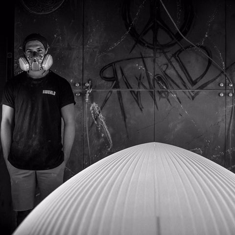 Rworld Surf and Skate shaping bay located in San Clemente, CA. Featuring Grant Huntington.