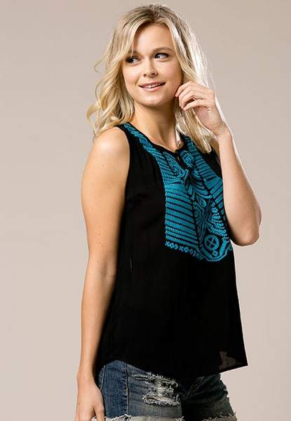 Ethnic inspired tank top with embroidered front - black and teal