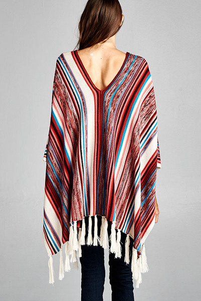 "Multi-color ""Taquilla Sunrise"" inspired soft knit poncho"