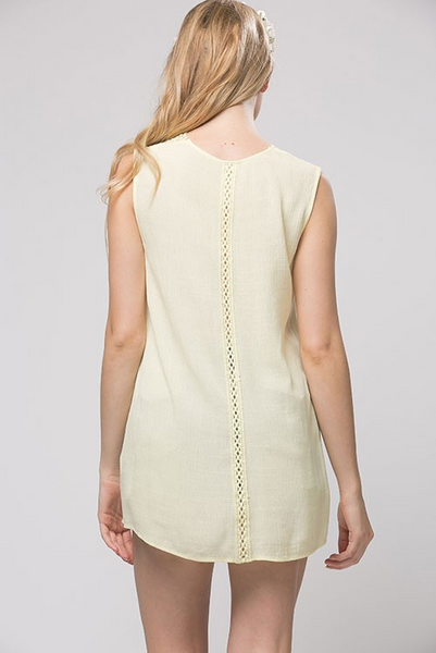 Flirty little boho hi-lo tank with lace front - Pale Yellow