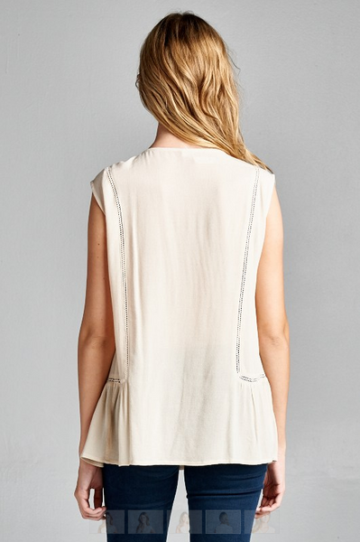 Sleeveless tank tunic top with lace contrast - Natural