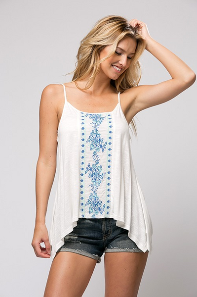Soft knit, spaghetti strap, embroidered front peasant tunit top - Ivory/Teal