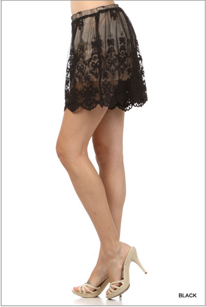 High waist lined lace short - Mocha