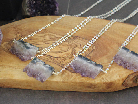 Large raw amethyst geode druzy pendant necklace with agate banding large raw amethyst geode druzy pendant necklace with agate banding aloadofball Images