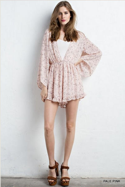 Floral print romper with wide sleeves - pale pink