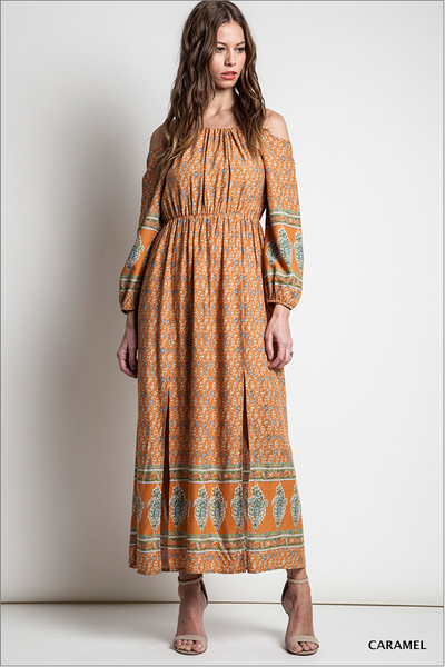 Printed peasant maxi dress - Caramel