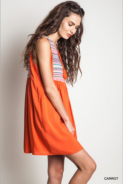 Tribal print yolk festive peasant dress - Carrot