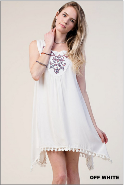 Tank dress with embroidered yoke and tassle trim on hem - white