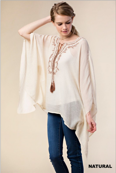 Embroidered boho-flare peasant tunic with embroidered yoke
