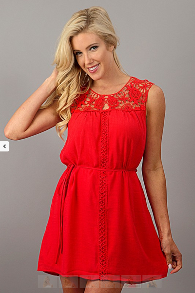 Sleeveless Lace Party Dress with Tie Waist - Red