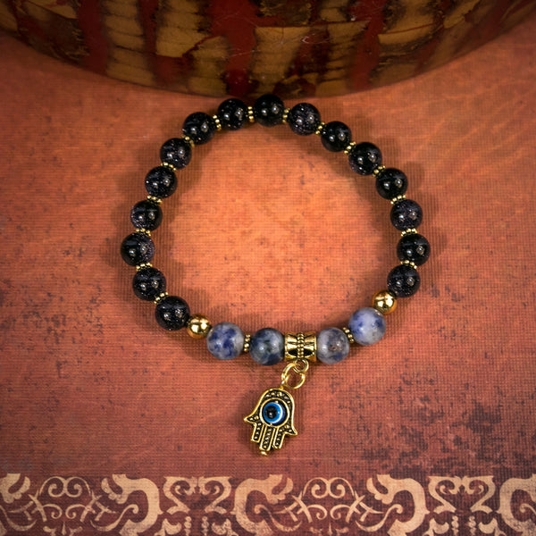 Hamsa Stackable Stretch Bracelet - Handmade in USA - Boho - Metaphysical - Healing Crystal - Carma - Festival Accessories - Evil Eye Jewelry