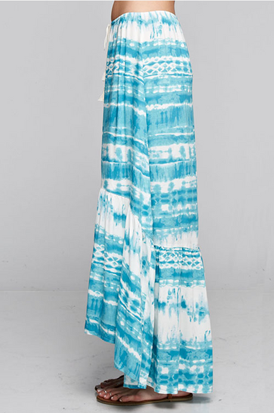 Teal and white, tie dye hi/lo maxi skirt with drawstring waist.