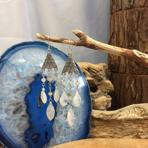 Goddess Diana Moonstone Earrings Sterling Silver Wire-wrapped