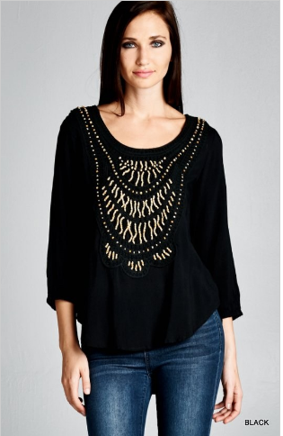 Boho front beaded tunic top - black