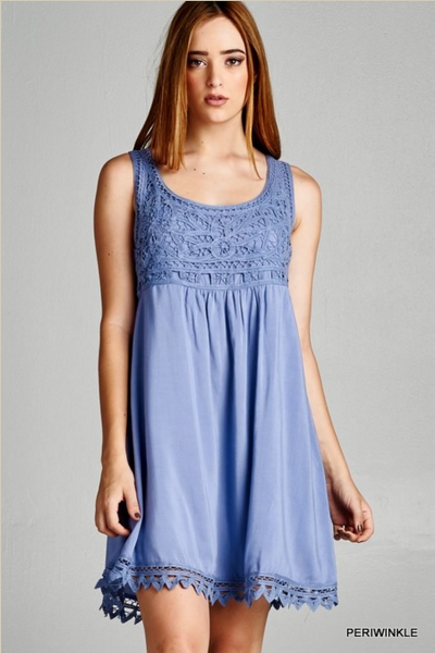 Pretty in Periwinkle embroidered lace dress