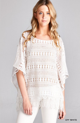 All lace poncho top - off white