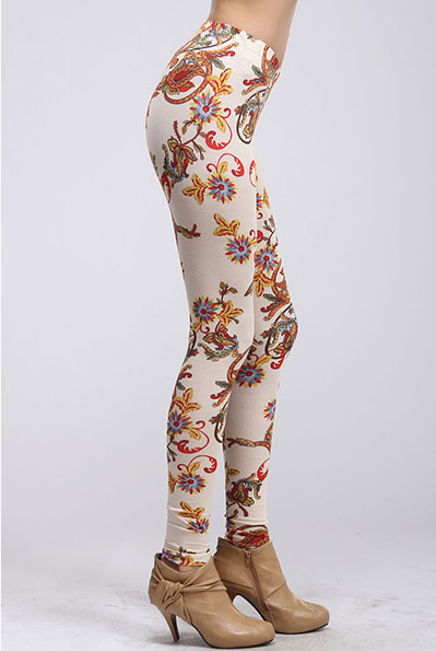 Floral printed leggings - Cream/Red