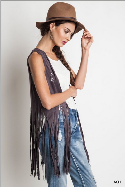 Faux suede fringe hippy vest with cutout flowers - festival apparel