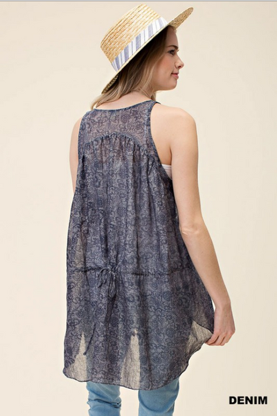 Sleeveless tie back semi-sheer hi/lo tunic top - denim color