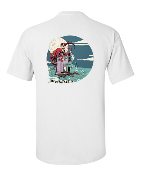 MEN RWORLD TEE_LAGUNA KRACKEN V-NECK WHITE