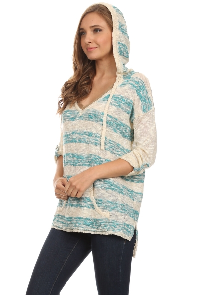 Striped V neck sweater with beige neck detail. - Turquoise and Cream