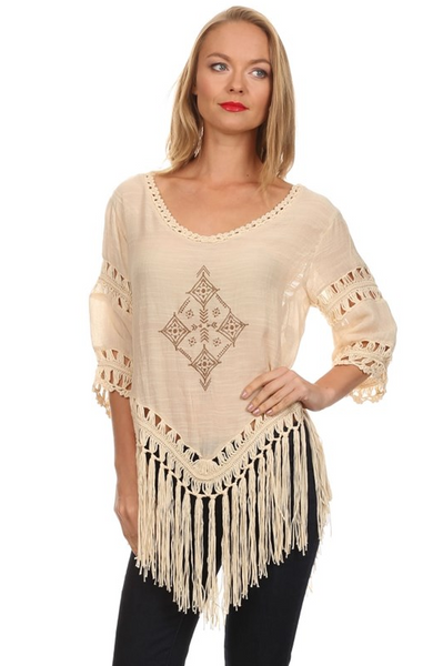 Loose fit, 3/4 length sleeve, embroidered design tunic top with long fringed hem and crochet details