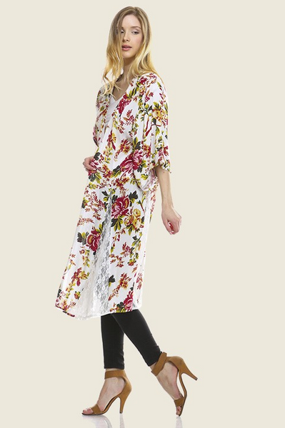 Maxi floral printed kimono with lace insert