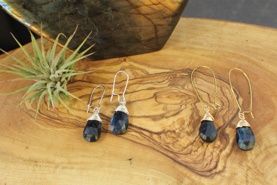 Elegant faceted black Labradorite wire-wrapped earrings