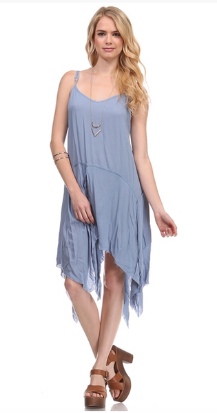 Soft dress with a raw-edge, cutoff hem. Periwinkle blue.
