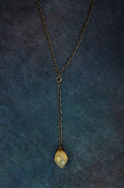 Genuine faceted Citrine gemstone Y Boho style layering necklace