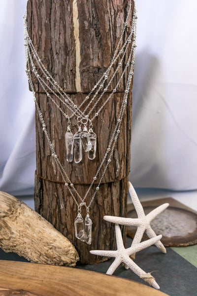 Clear Crystal Quartz Stick Pendant Necklace