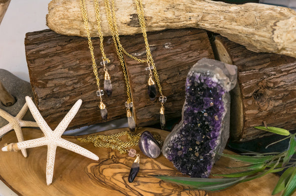 Dog Tooth Amethyst and Quartz Crystal Wire-wrapped Pendant Layering Necklace