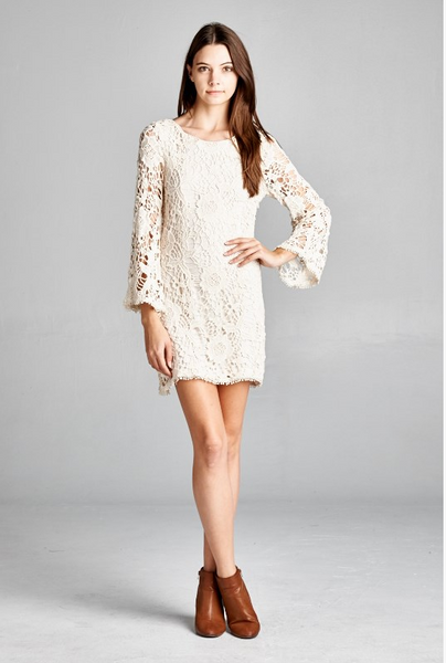 Stunning crochet lace, long bell sleeve dress.