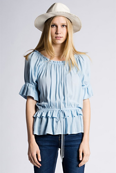 Short sleeve ruffle top with waist tie - Dusty blue