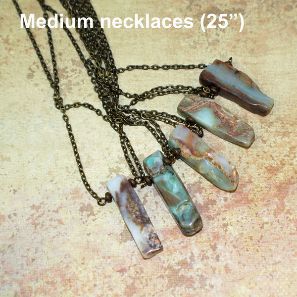 Natural Raw Blue Peruvian Opal Free-form Shape Boho Pendant Necklace