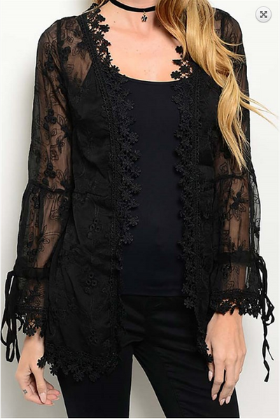 Sheer lace kimono with drawstring tie sleeves - Black