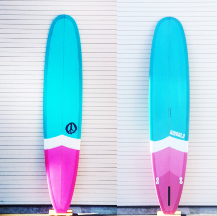 "RWorld ""Standard"" Longboard Surfboard-Pink and Teal"