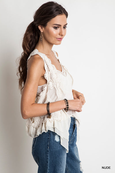Sleeveless lace vest - Cream