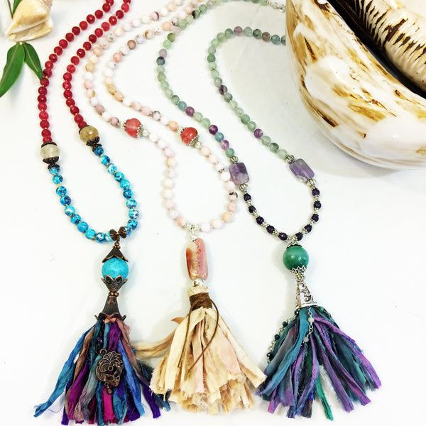 Sari Silk Fringe Tassel Long Gemstone Beaded Necklace - ONE OF A KIND